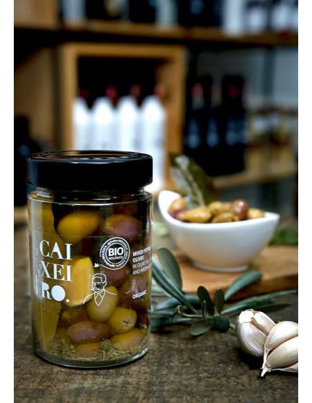 caixeiro bio oliwki z czosnkiem w zalewie z oliwy extra virgin 170g